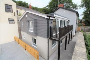 Two storey 'upside down house' with balcony, Newport