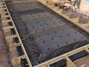Raft foundation construction, Newport