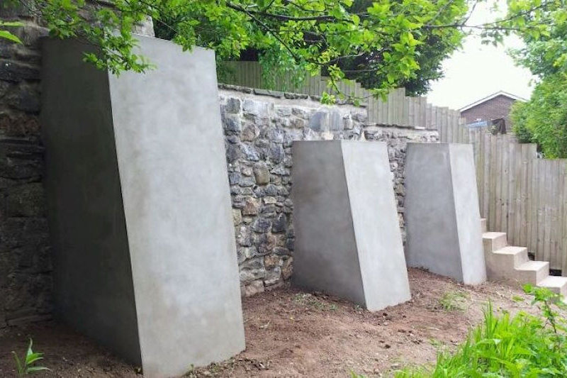 Structural landscaping using buttresses and gabions, Newport & Bath