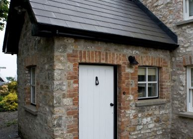Farmhouse stone porch restoration, Magor